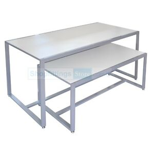 Display Nesting Tables Set Of 2 White Two Showcase Nested Tables For Retail Ebay