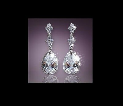 18K White Gold Plated Water Drop Swarovski Crystal Wedding Party Earring