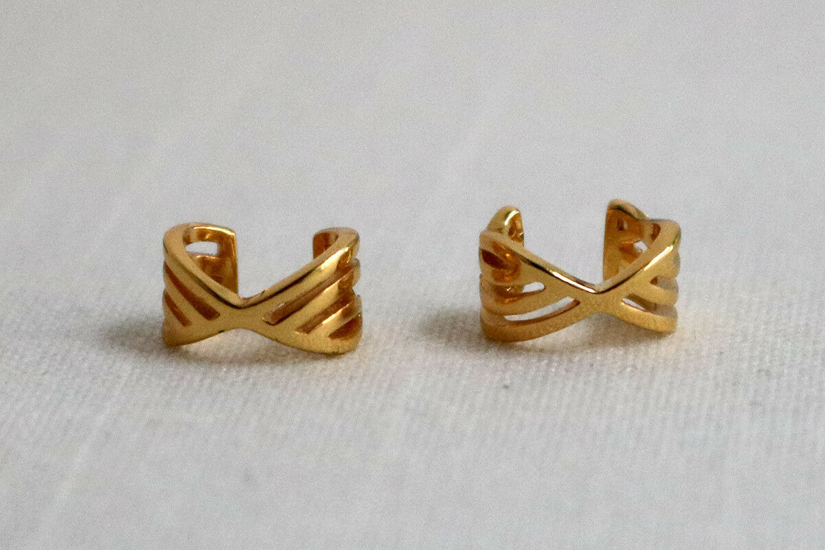 Gorjana Pair of Linear Ear Cuffs 18k gold Plate