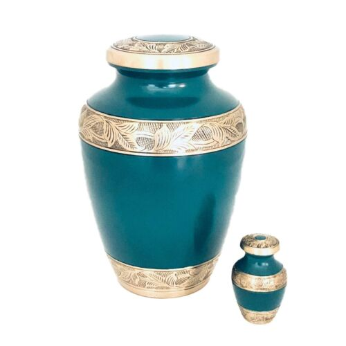 Well Lived® Green and Brass Adult Cremation Urn for human ashes