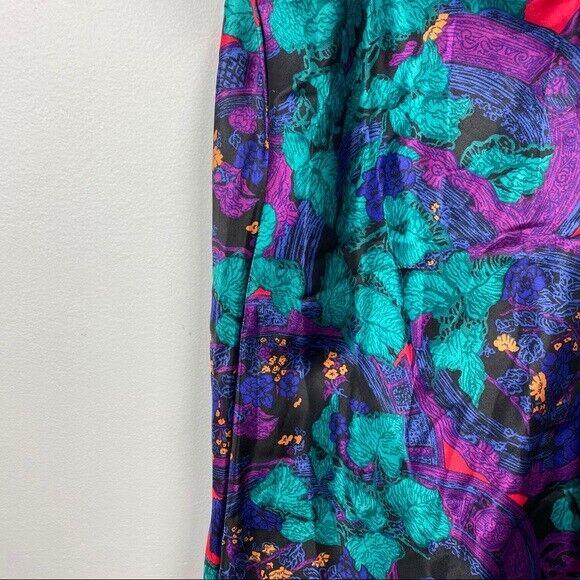 Vintage Floral Slip dress 80s 90s EUC Neon Floral… - image 6