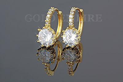 Luxus Ohrringe, Creolen gold, Zirkonia weiß 999er Gold 24K vergoldet 1380