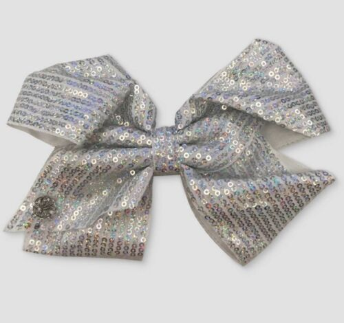 Jojo Siwa Signature Silver Sequin Cheer Hair Bow NWT Easter Spring Summer