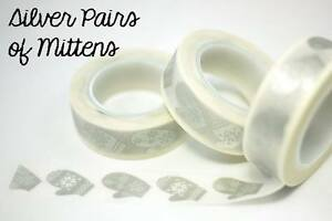 Chugoku-Washi-Deco-Paper-Tapes-Christmas-Silver-Pairs-of-Mittens
