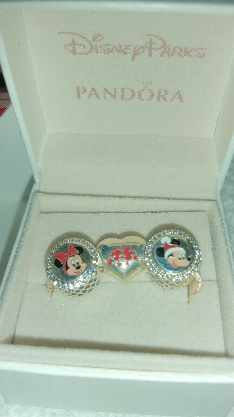 73f371187 Disney Parks PANDORA 3 Charm Christmas Holiday Mickey Minnie Set for ...