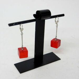 Paar-kl-rote-durchsichtige-KubenOhrringe-Earrings-Bakelit-30er-Jahre-ART-DECO