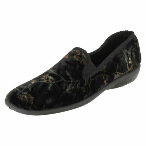 LADIES SPOT ON X2015 INDOOR SHOES SLIP ON CASUAL COMFORT SLIPPERS FLORAL PRINT