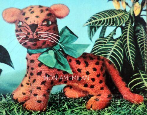 Leopard Toy Vintage 50s Knitting Pattern Photocopy Wild Cat Cuddly Zoo Animal