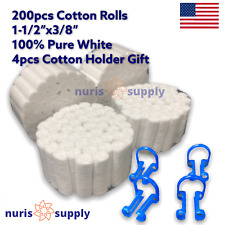 200pcs 2 Dental Cotton Rolls Pure White High Absorbency 4pcs Holder Gift