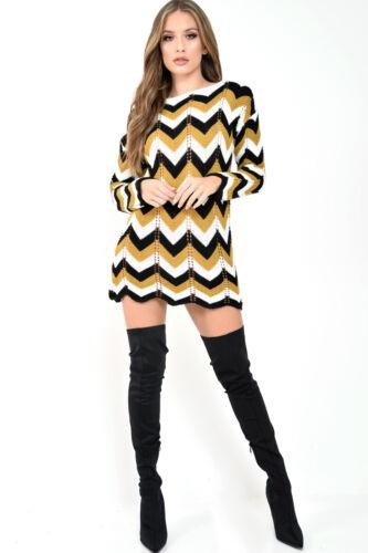 Da Donna Lavorato A Maglia A Maniche Lunghe Chevron ZIG ZAG Stripe Knit maglione mini dress