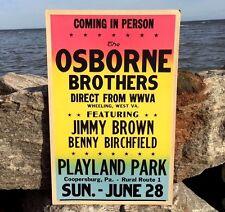 RARE Original 1964 Osborne Brothers Benny Birchfield Poster Playland Park Pa VTG