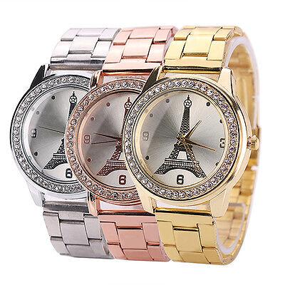 Womens Exquisite Eiffel Tower Rhinestone Stainless Steel Quartz Wrist Watch