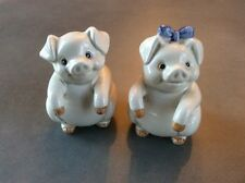Pig Salt and Pepper Shakers Fitz and Floyd Japan Ceramic 2 pc