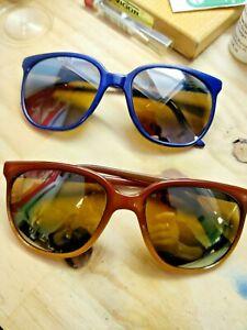 2 Paires Vintage années 70 VUARNET lunettes de soleil Pouilloux France Authentique Bleu & Marron
