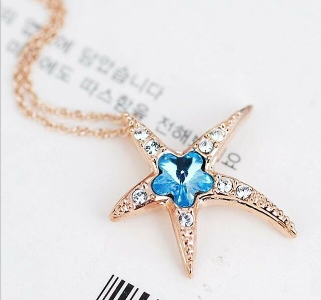 18K Rose Gold Crystal Blue Flower Starfish Star Earring Necklace set