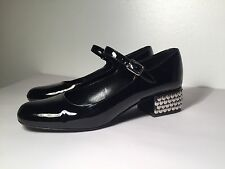 Authentic YSL SAINT LAURENT Women's Black Painted Shoes Metal Heel Size35RRP£460
