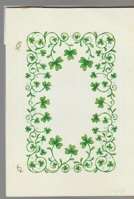 "Clover & Vines Border 5.5x8"" #7804 St Patrick's Day Greeting Card Art Novel Design; In"