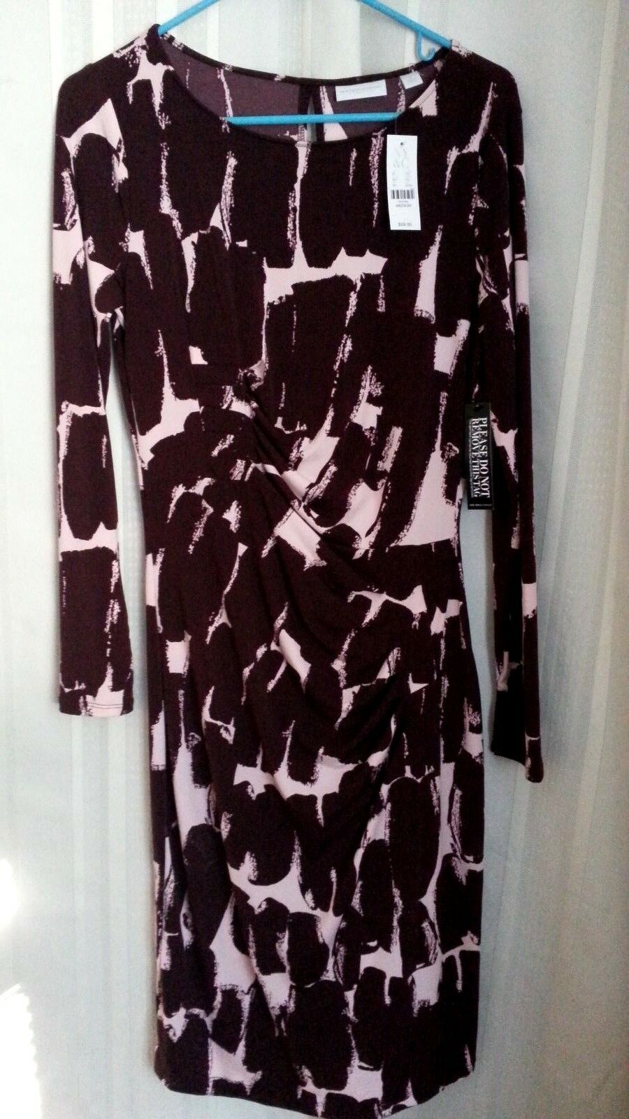 NY & CO STRETCH Poly Spandex Pull Over Fitted Dress Size Med Long Sleeve NWT