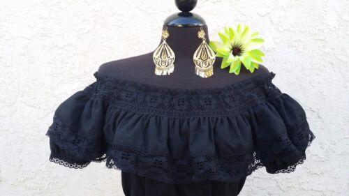 Blusa Adelita Mexican Black Adelita Blouse On//Off Shoulder w//Small White Sash