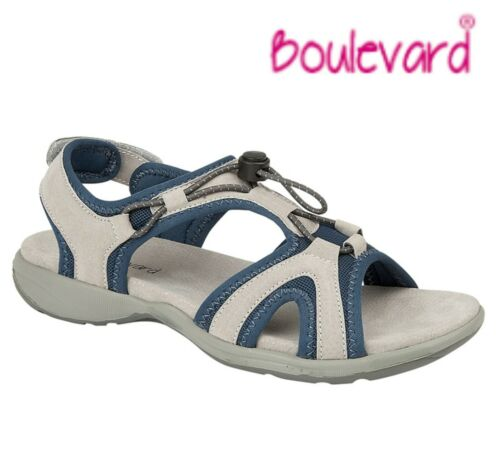 Grey /& Blue  Size 3 4 5 6 7 8 9 LADIES Leather Touch Fastening Walking Sandals