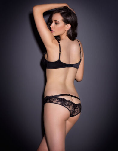 Agent Provocateur LARIZSA Wet-look Black Lace Brief SZ:2 S Ret$250 New w//Tags