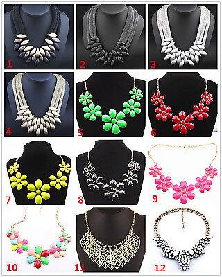 Women/'s Crystal Charm ciondolo gioielli catena trama grossa collana girocollo dichiarazione
