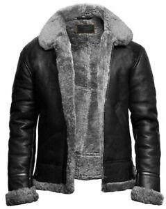 Mens-Black-RAF-Shearling-B3-Bomber-Fur-Collared-Aviator-Sheepskin-Leather-jacket