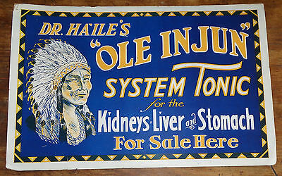 rare old cardboard sign Dr Ha' Ile's Ole Injun System Tonic