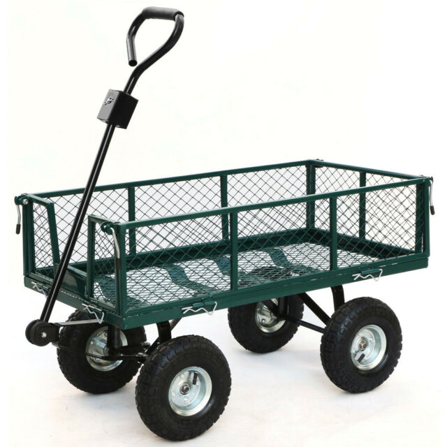 800lbs heavy duty lawn garden utility cart wagon wheelbarrow steel trailer - Garden Utility Cart