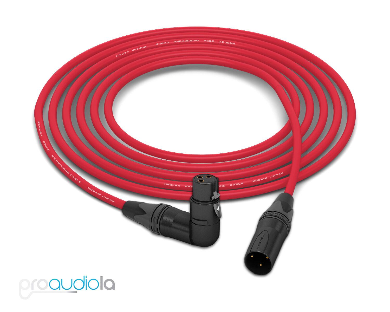 Cable de cuatro Mogami 2534     Neutrik 90 o XLR-F oro A Xlr-m   Rojo 10 pies 10'  n ° 1 en línea