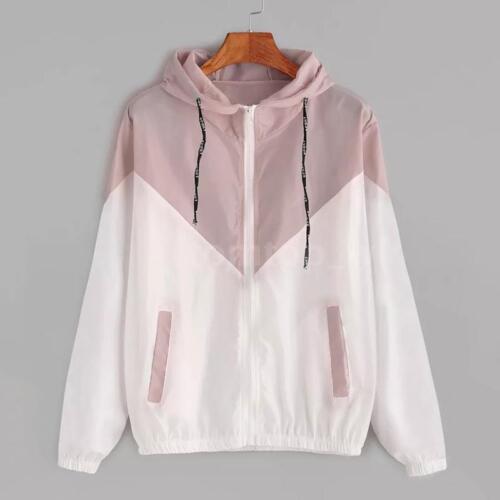 Fashion Women Jacket Coat Hooded Casual Windbreaker Zip Up Long Sleeve Tops J1G5