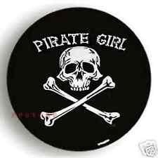 "SPARE TIRE COVER 26""-28.6"" pirate girl skull on samurai black zw694382p"