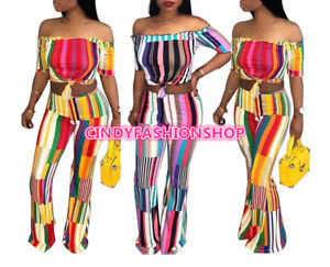 fe9883a54fcd6 Sexy Two Piece Set Women Striped Print Off Shoulder Crop Top+Wide ...