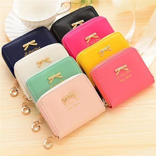 Mini Bowknot PU Leather Purse Zip Women Clutch Wallet Card Holder Coin Bag NEW S