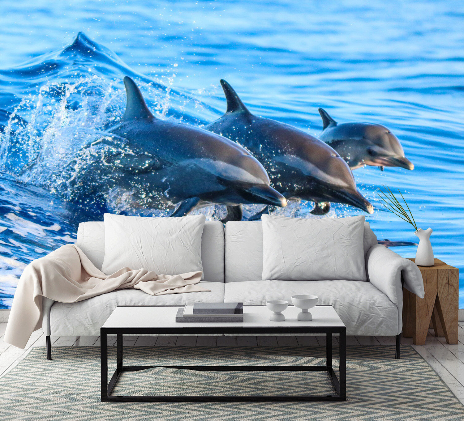 3D Swimming Dolphin 656 Wall Paper Wall Print Decal Wall Deco Indoor Wall