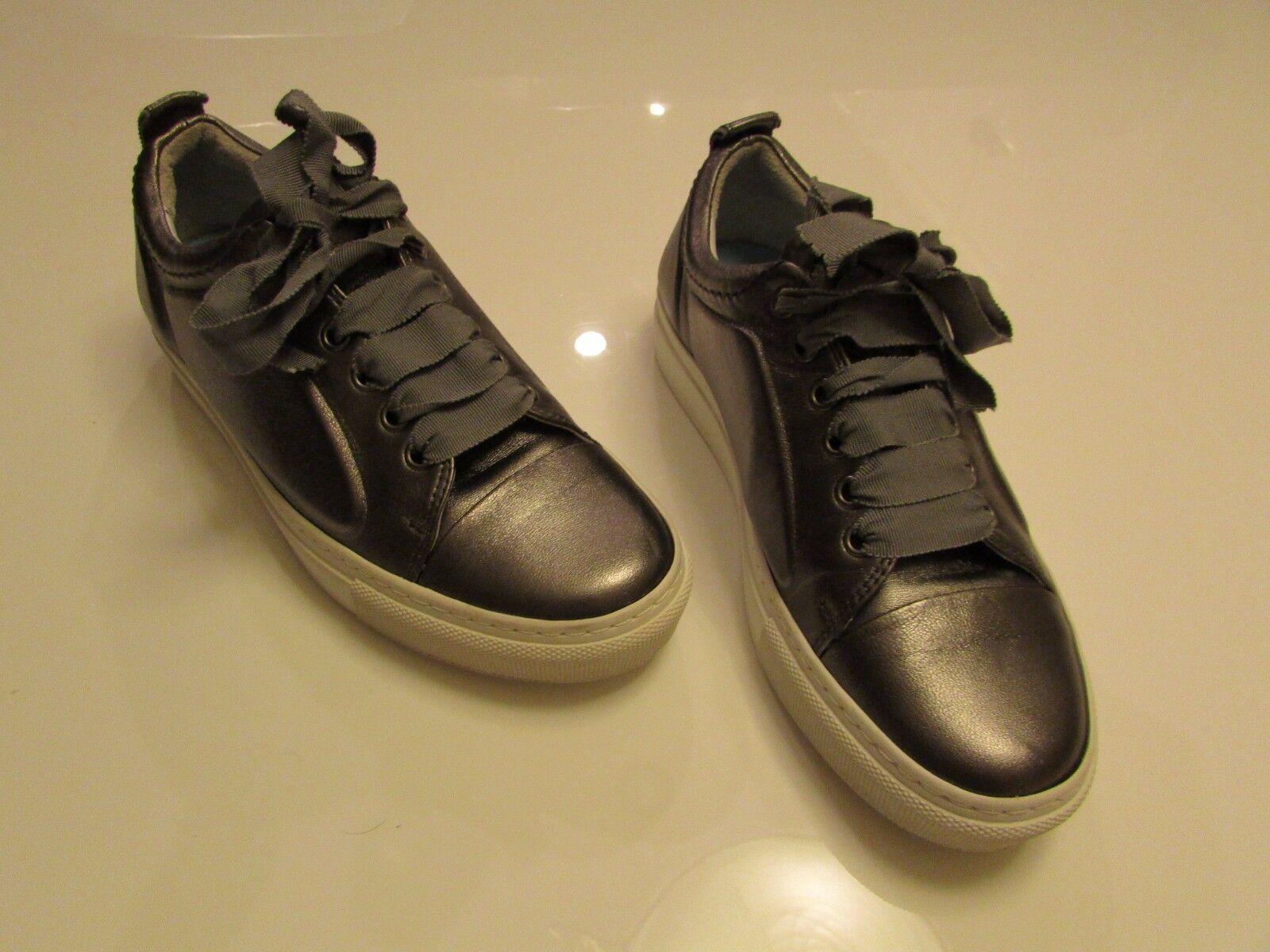 Lanvin Cap-Toe Metallic Olive Green Leather Low-Top Basketball Basketball Basketball Sneakers   37 5dd8a1