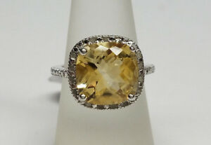 Genuine-925-Sterling-Silver-Yellow-Topaz-Gemstone-Engagement-Ring-Size-7-NEW