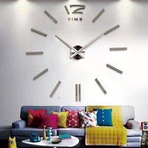 Design Wand Uhr Wohnzimmer Wanduhr Spiegel Edelstahl Wandtattoo Deko