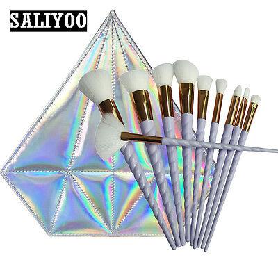 10pcs Unicorn Kabuki Makeup Foundation Brushes Set Cosmetic Blush Face Powder AU