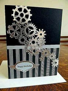 Silver Gears HAPPY BIRTHDAY Handmade Greeting Card