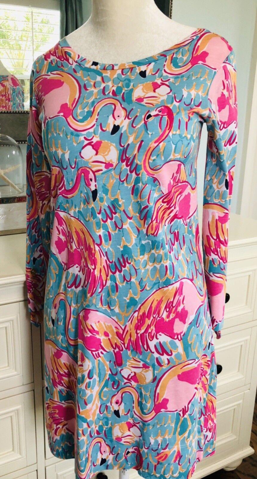 EUC Lilly Pulitzer pink flamingo linden t-shirt dress tropical beach xxs
