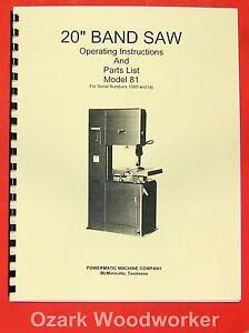 POWERMATIC-81-20-034-Band-Saw-Model-Operating-Parts-Manual-0522