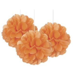 Naranja-Mini-Puff-BOLAS-3pk-Papel-Decoracion-Fiesta-Boda-Baby-Shower-Barbacoa