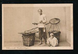 Indonesia Chineesche Vorkenslager Butcher Seller c1900s PPC Kolff & Co Batavia