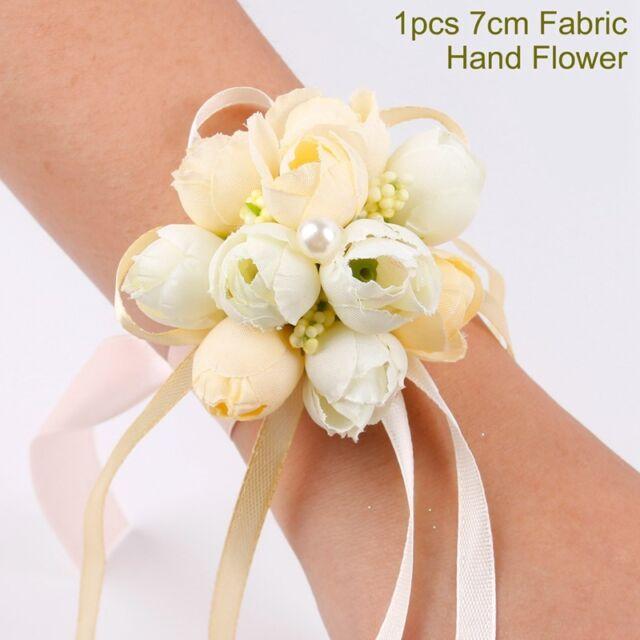 New 1PC Women Bridal Bridesmaid Wrist Wedding Party Corsage Bracelet Hand Flower