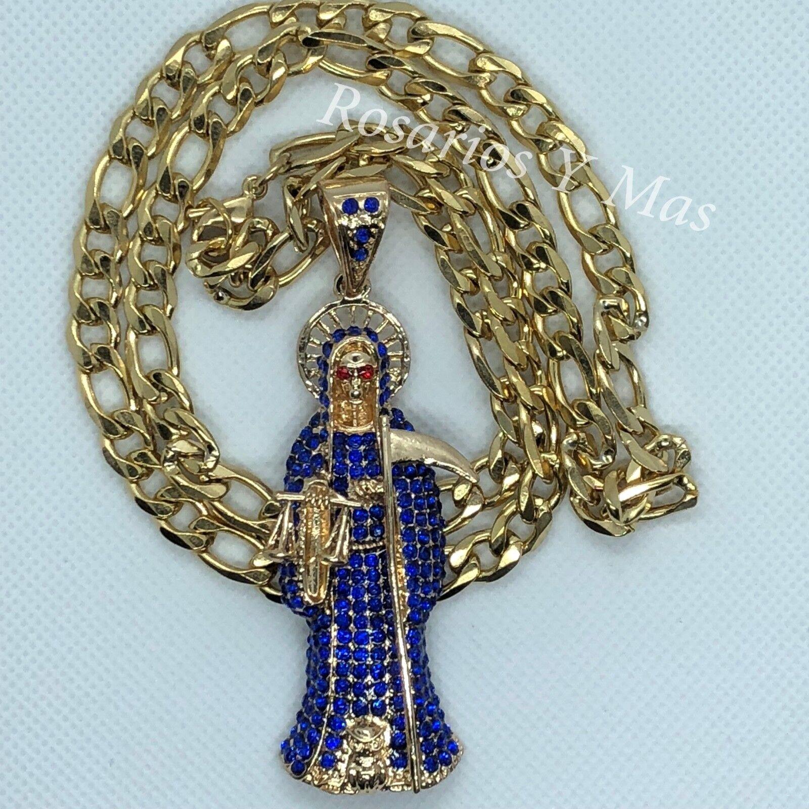 Santa Muerte bluee gold Laminado Medalla con Cadena de 26  Nuevo Piedra