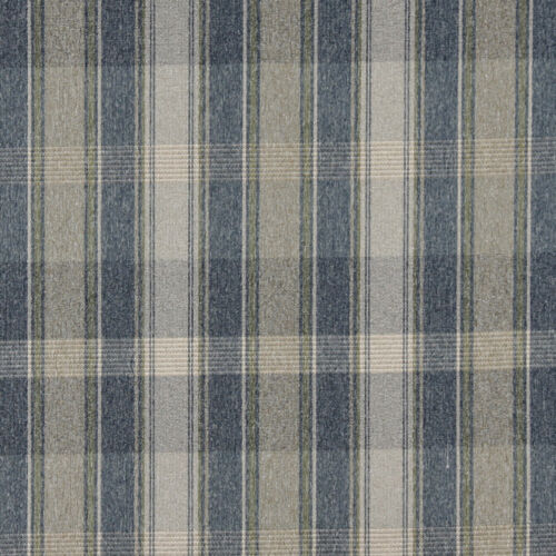 Large Plaid Country Upholstery Fabric By The Yard C643 Blue Green And Ivory