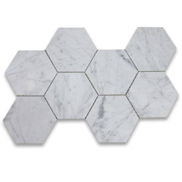 C35xp Carrara White Marble 5 Hexagon