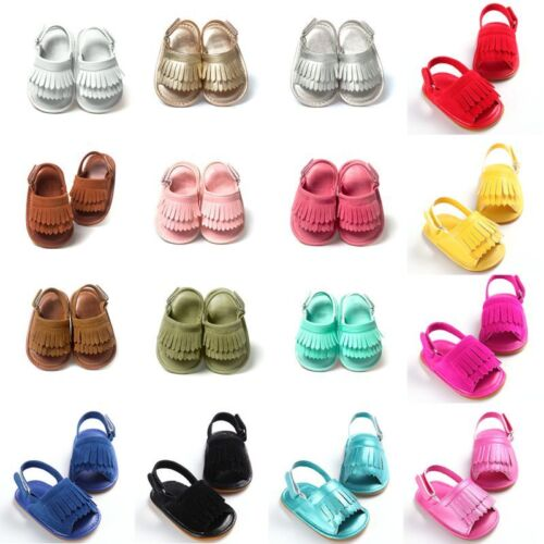 UK Baby Girl Boy Infant Sandals Tassel Anti-Slip Crib Shoes Soft Sole Prewalkers