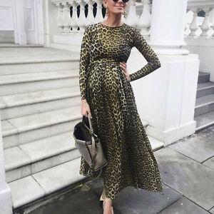 Women-Pregnants-Maternity-Photography-Props-Long-Sleeve-Print-Leopard-Dress